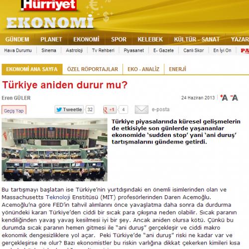 Hürriyet : Türkiye aniden durur mu?