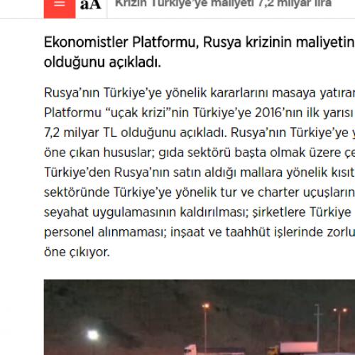 Sözcü: Krizin Türkiye'ye Maliyeti 7,2 Milyar Lira