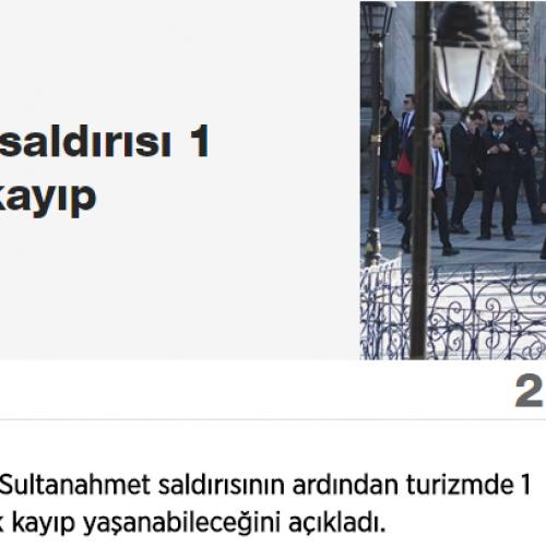 Sözcü: Sultanahmet Saldırısı 1 Milyar Dolar Kayıp Yaşatabilir